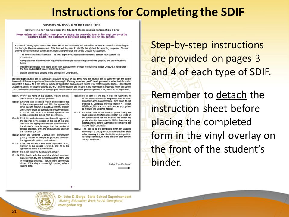 Instructions for Completing the SDIF