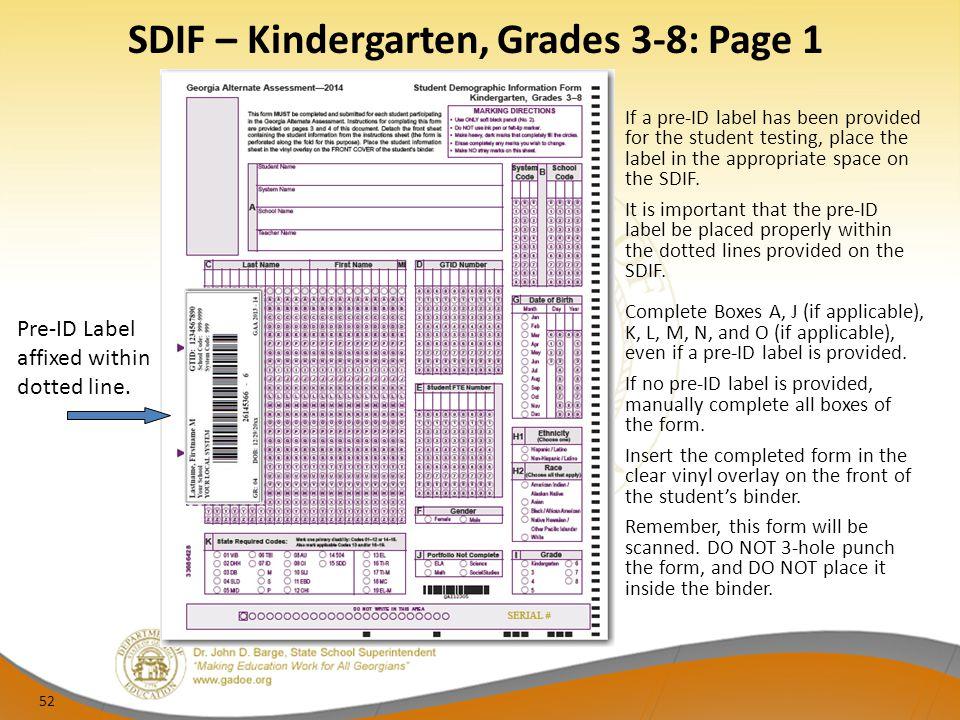 SDIF – Kindergarten, Grades 3-8: Page 1