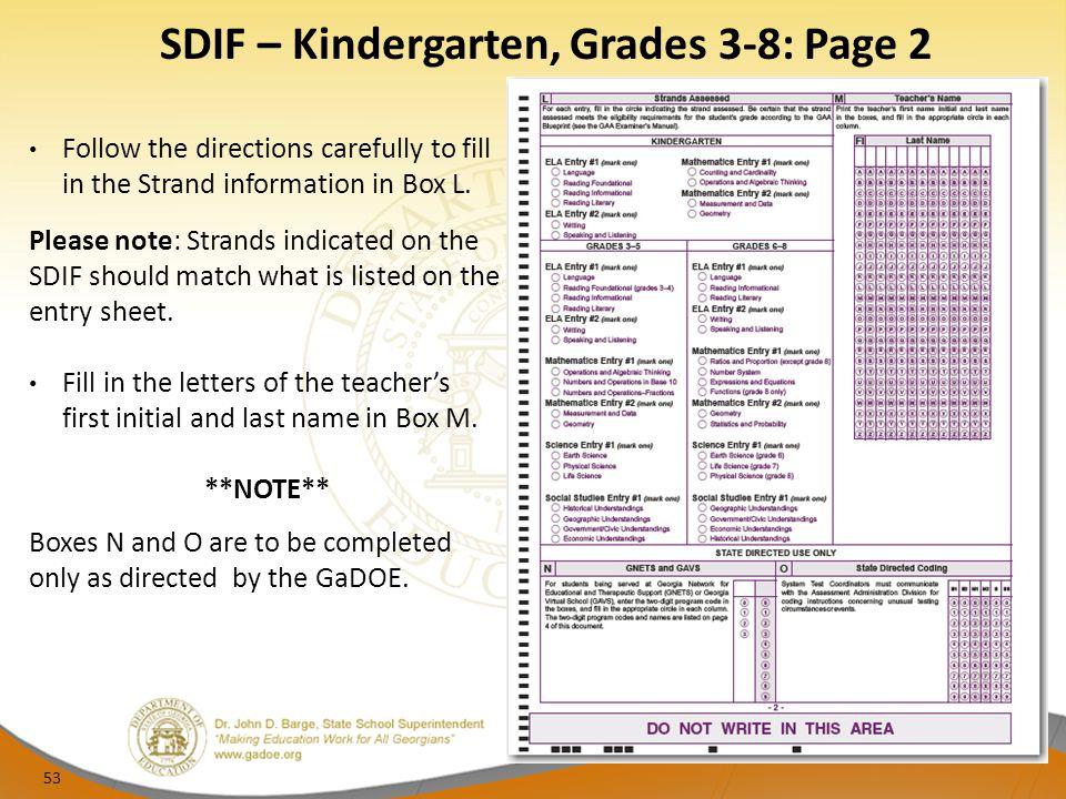 SDIF – Kindergarten, Grades 3-8: Page 2