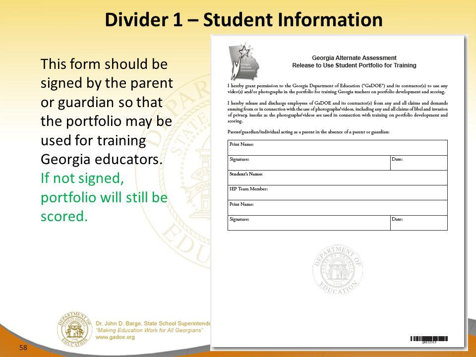 Divider 1 – Student Information