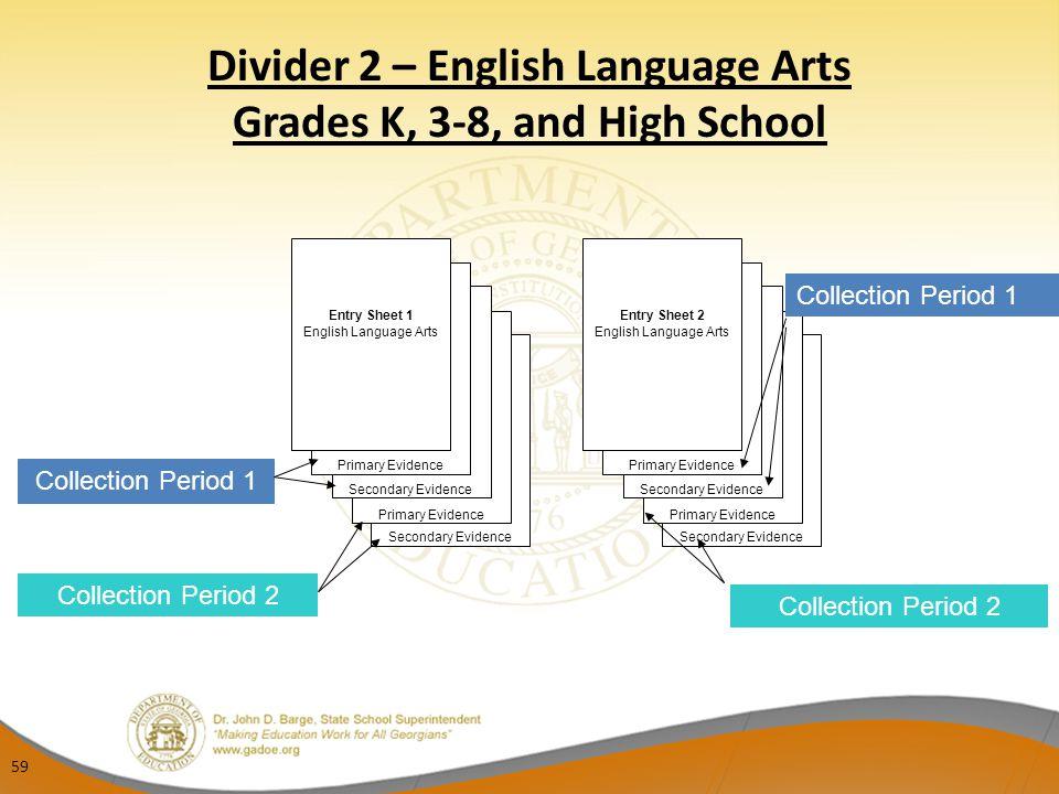 Divider 2 – English Language Arts Grades K, 3-8, and High School