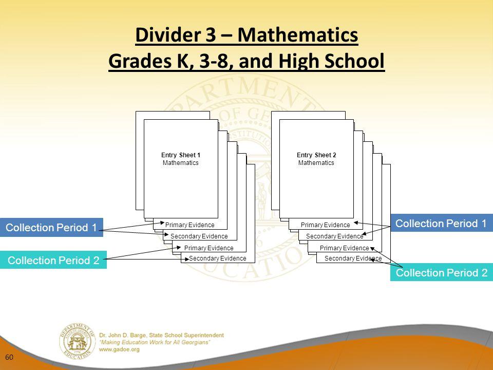Divider 3 – Mathematics Grades K, 3-8, and High School