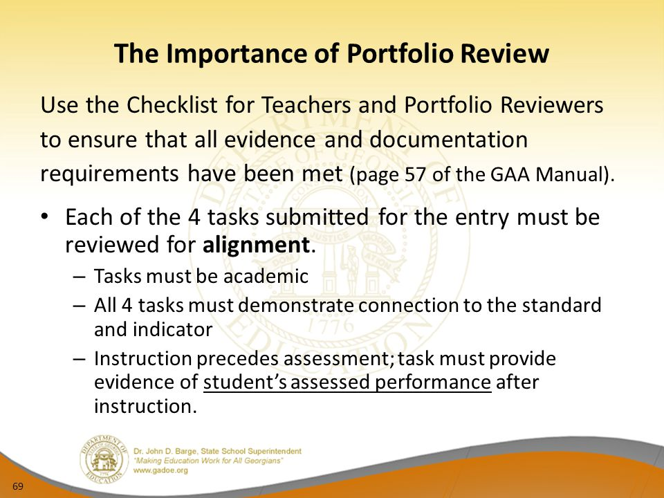The Importance of Portfolio Review