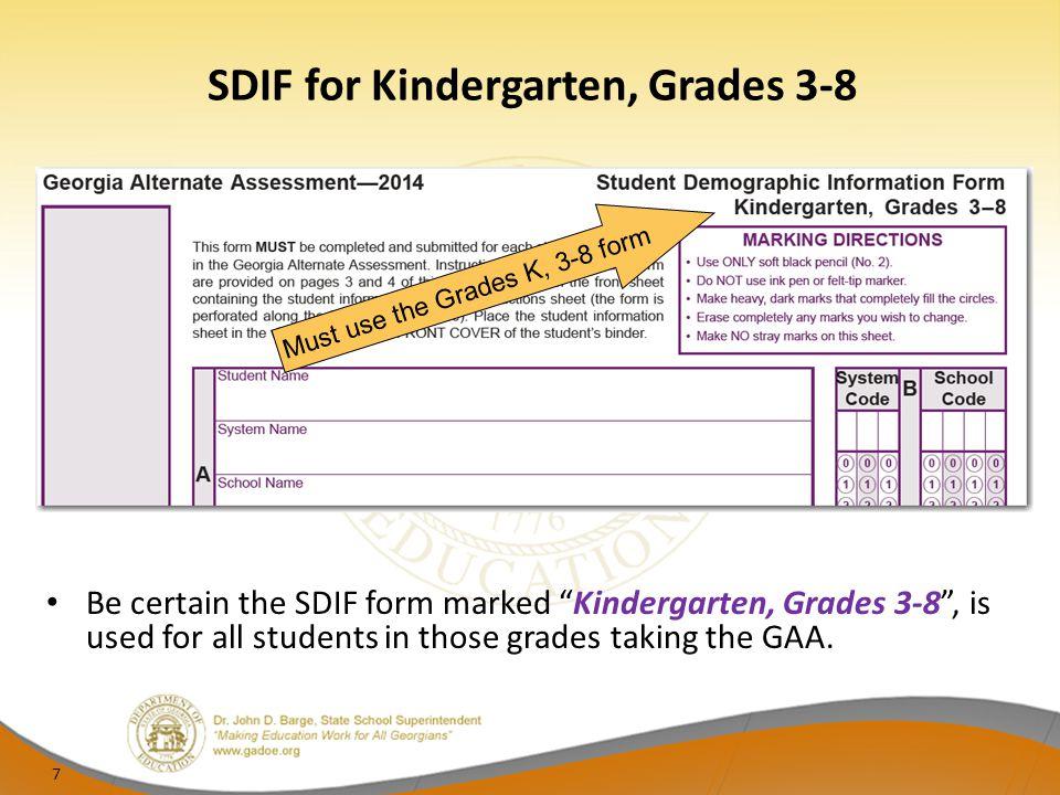 SDIF for Kindergarten, Grades 3-8