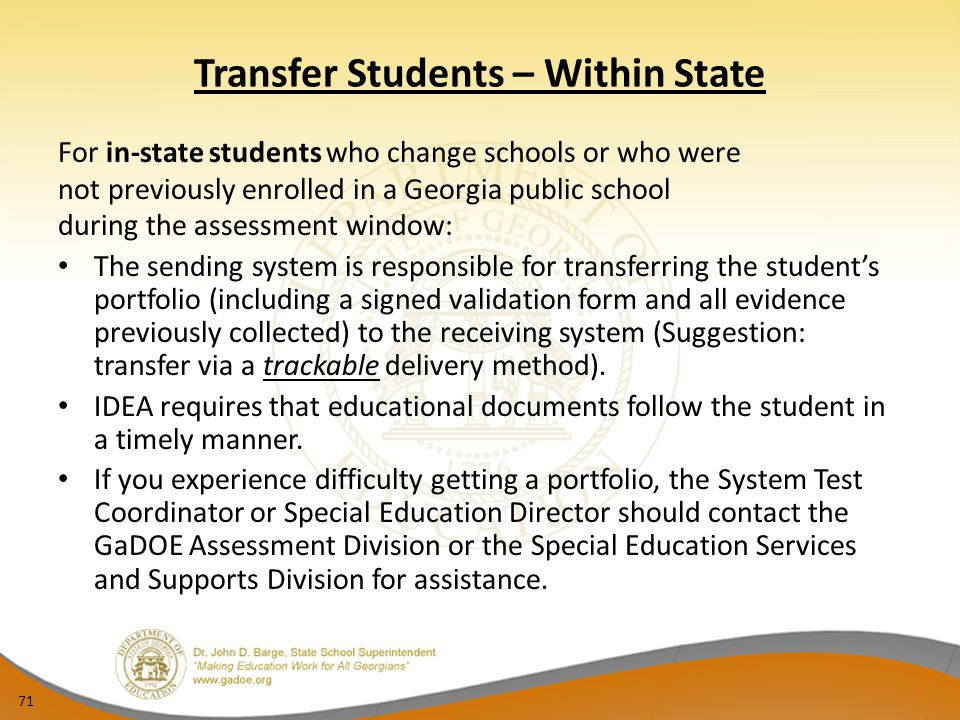 Transfer Students – Within State