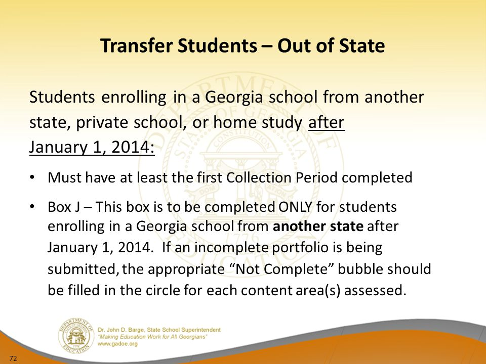 Transfer Students – Out of State
