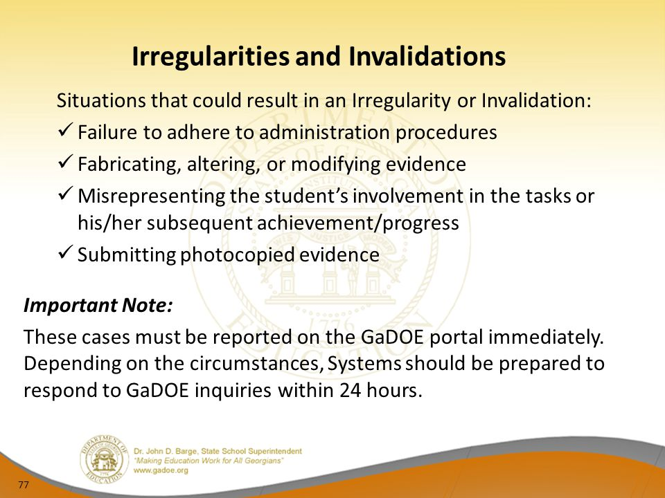 Irregularities and Invalidations