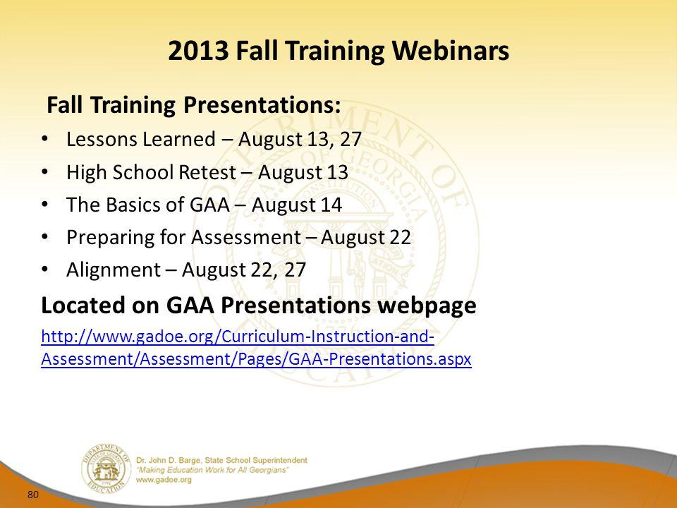 2013 Fall Training Webinars