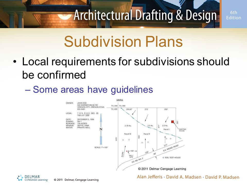 Subdivision Plans Local requirements for subdivisions should be confirmed.