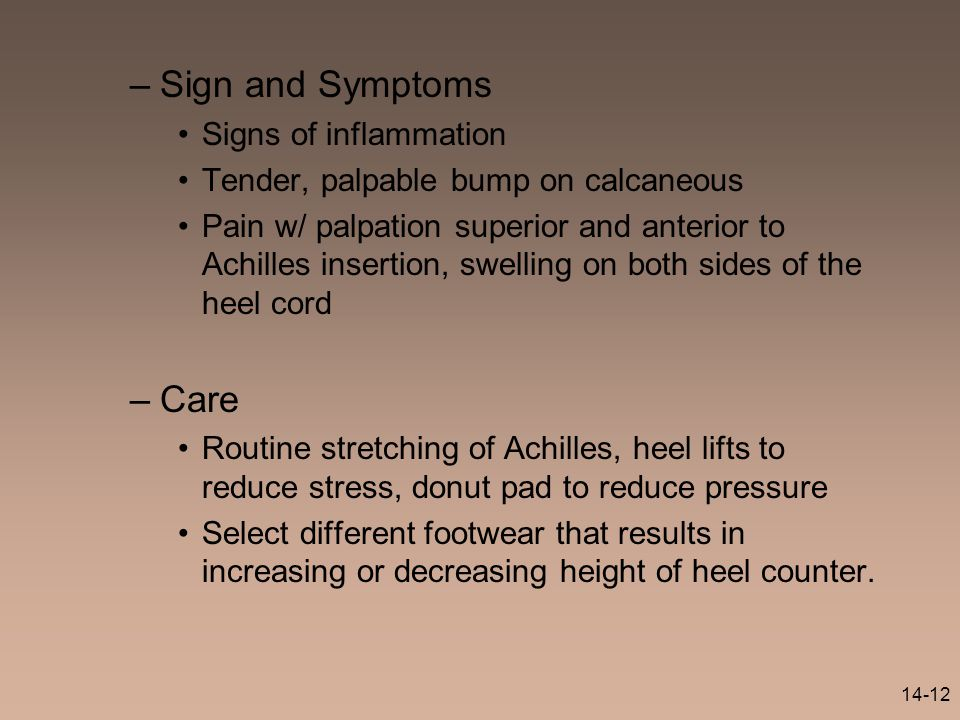 Sign and Symptoms Care Signs of inflammation