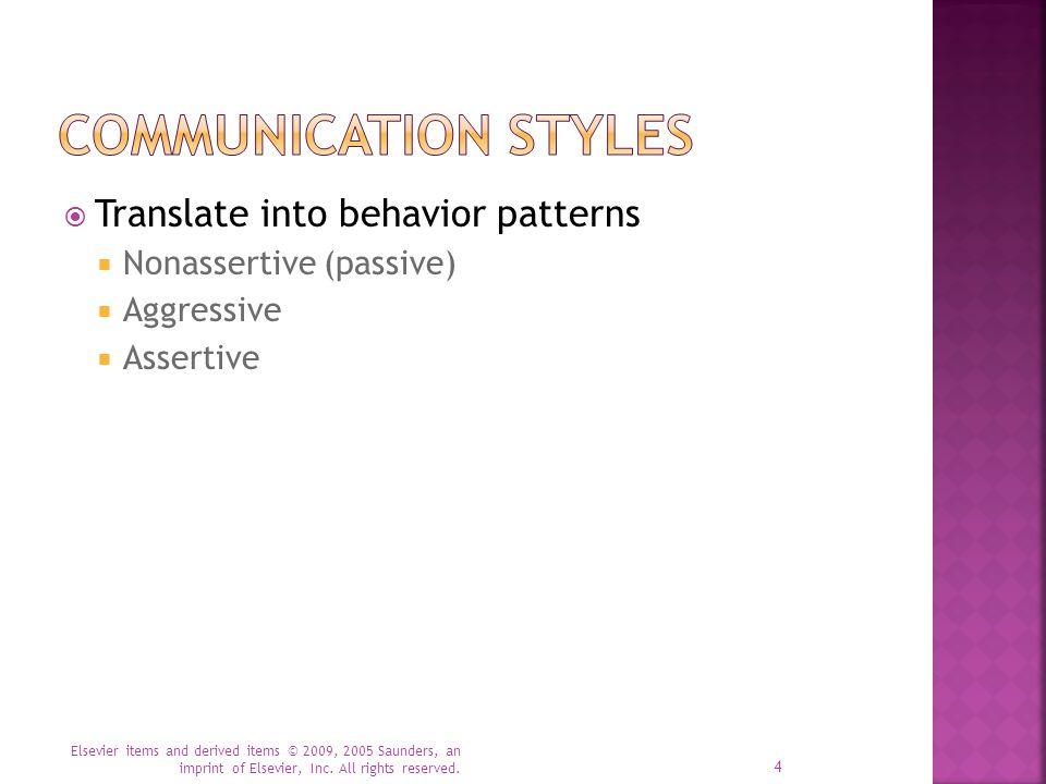 Communication Styles Translate into behavior patterns