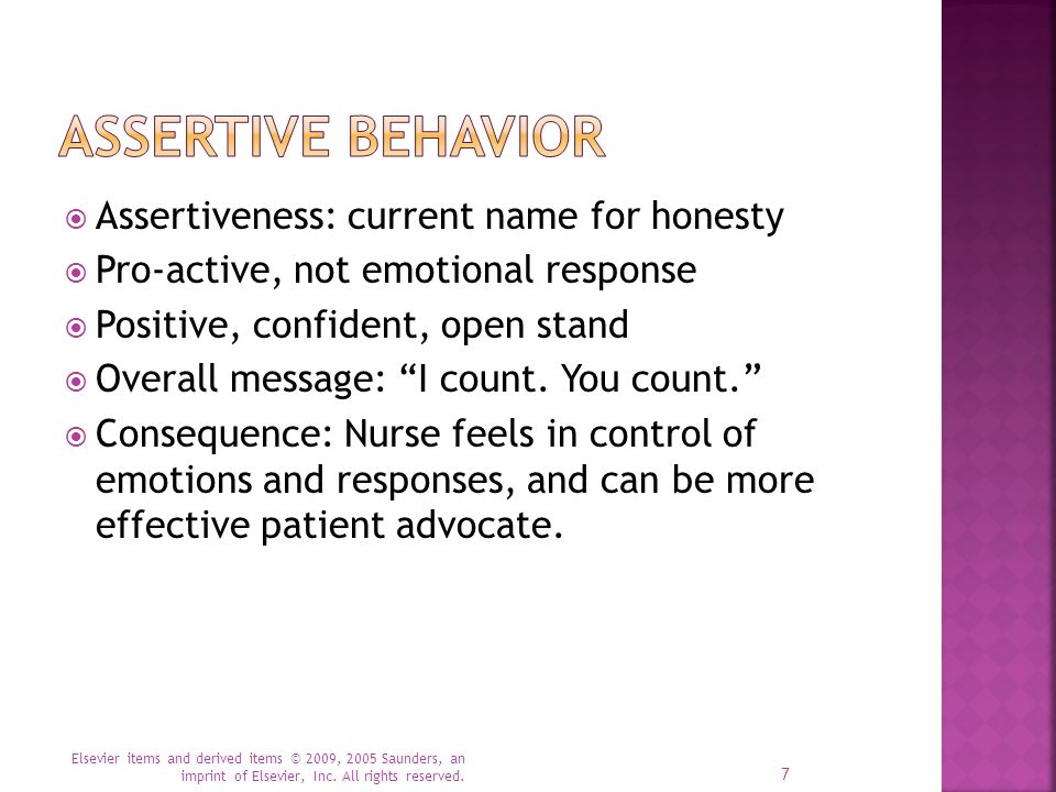 Assertive Behavior Assertiveness: current name for honesty