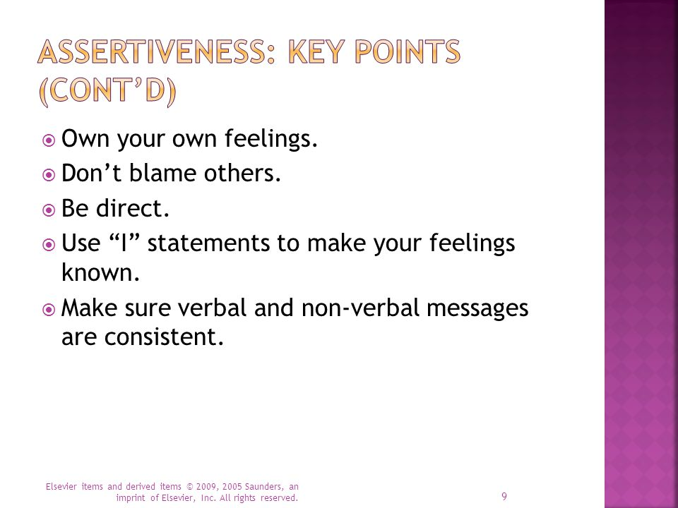 Assertiveness: Key Points (cont'd)
