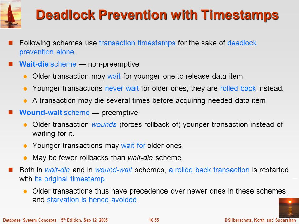 Deadlock Prevention with Timestamps