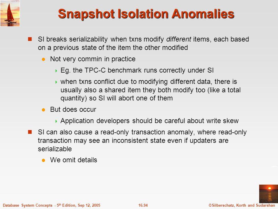 Snapshot Isolation Anomalies