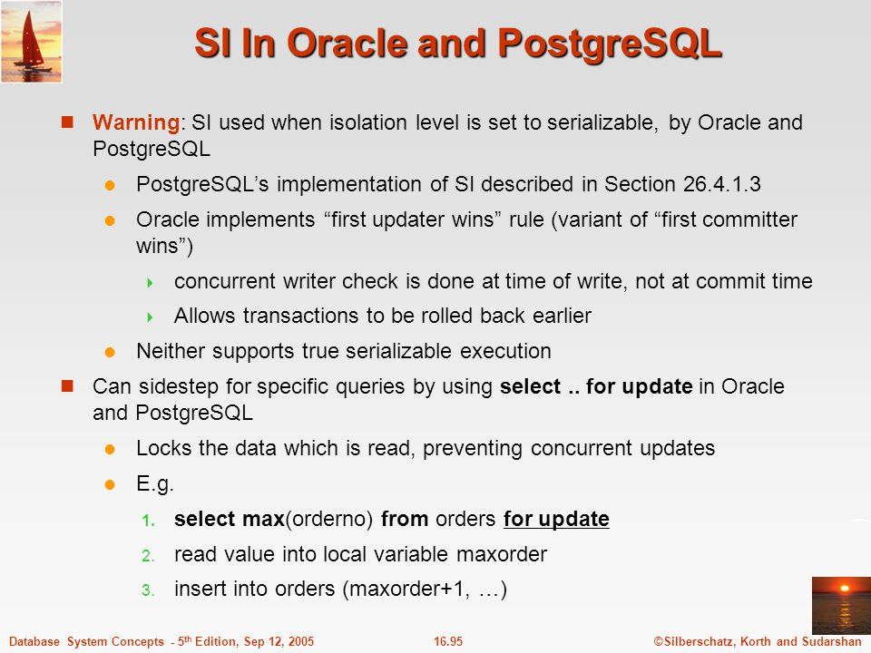 SI In Oracle and PostgreSQL