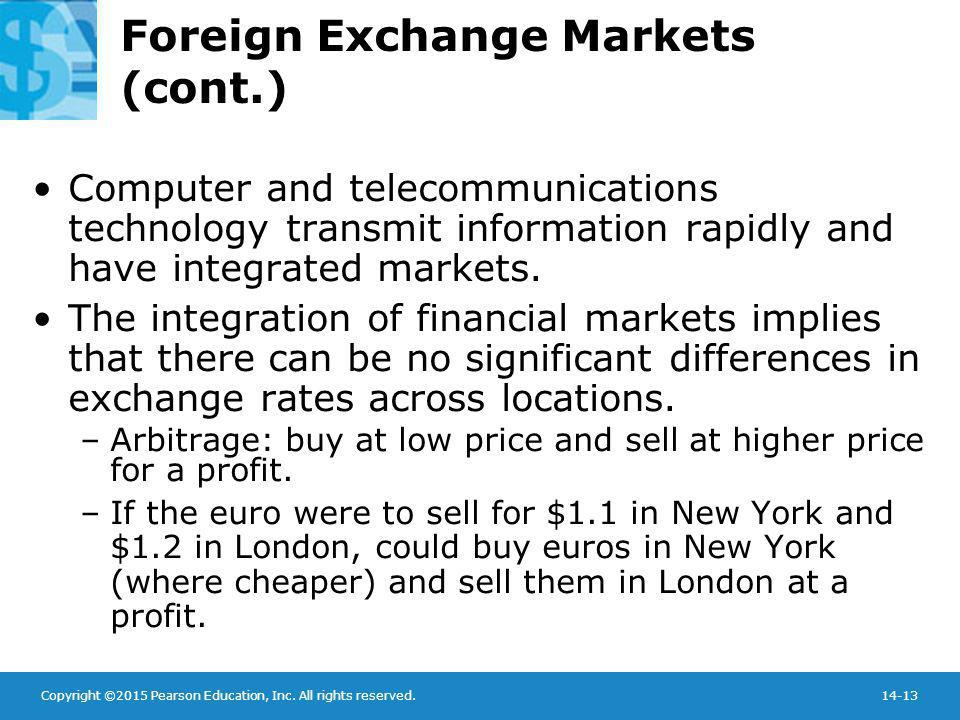 Foreign Exchange Markets (cont.)