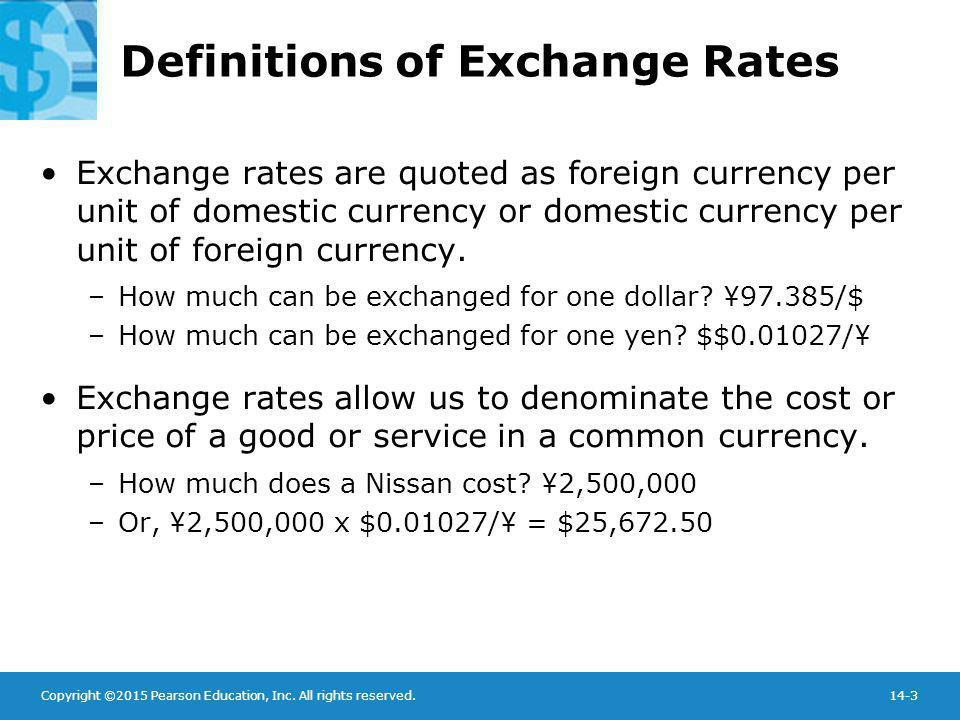 Definitions of Exchange Rates