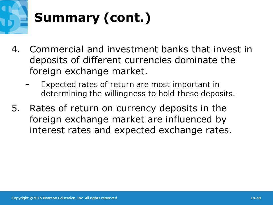 Summary (cont.) Commercial and investment banks that invest in deposits of different currencies dominate the foreign exchange market.