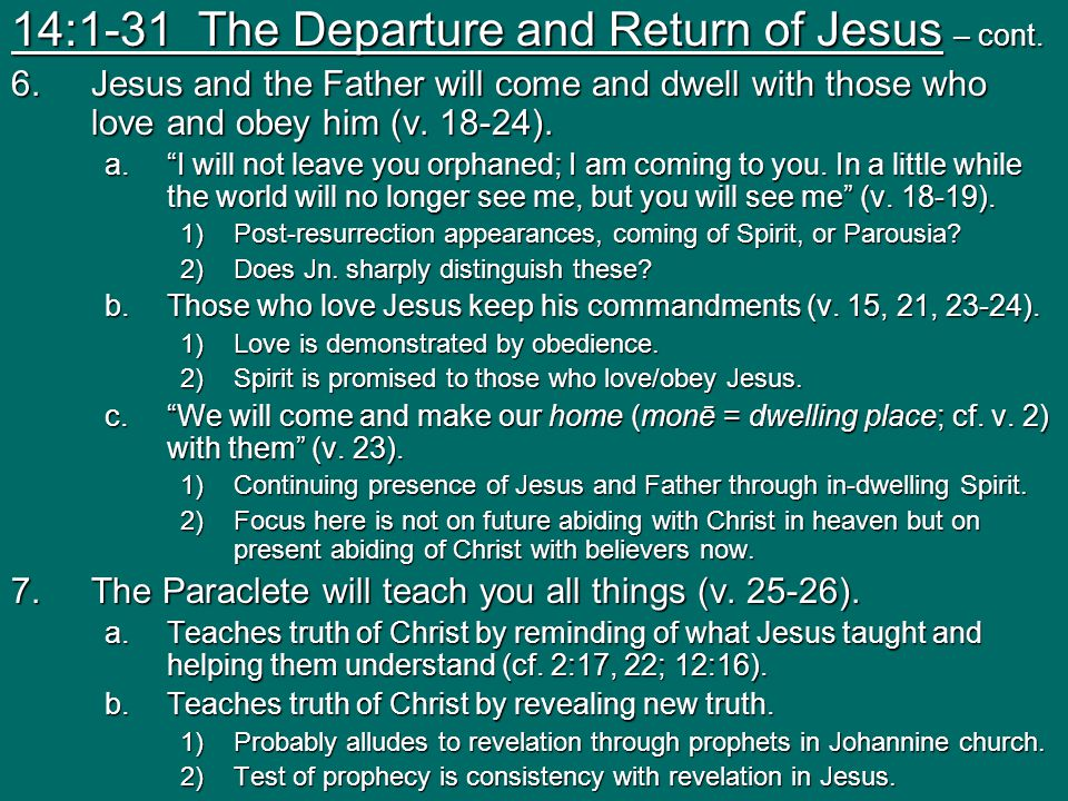 14:1-31 The Departure and Return of Jesus – cont.