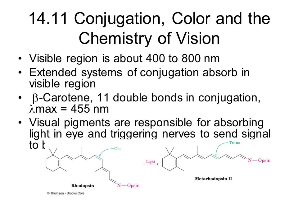 14.11 Conjugation, Color and the Chemistry of Vision