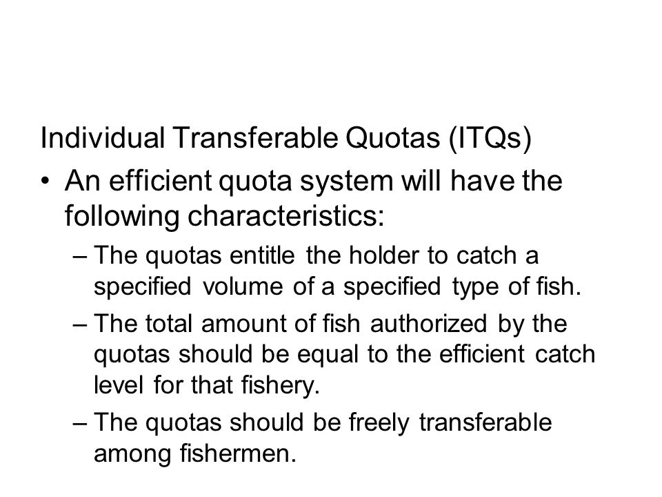 Individual Transferable Quotas (ITQs)
