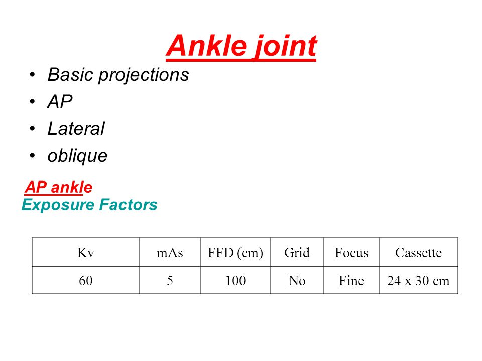Ankle joint Basic projections AP Lateral oblique AP ankle