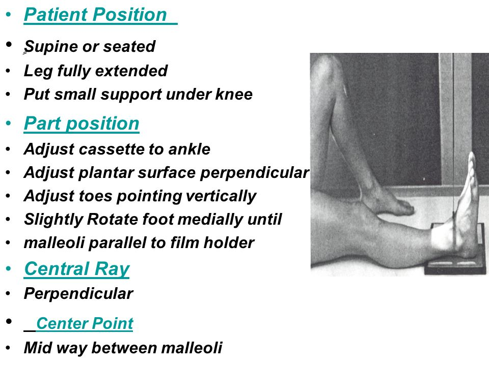 ٍSupine or seated Center Point Patient Position Part position