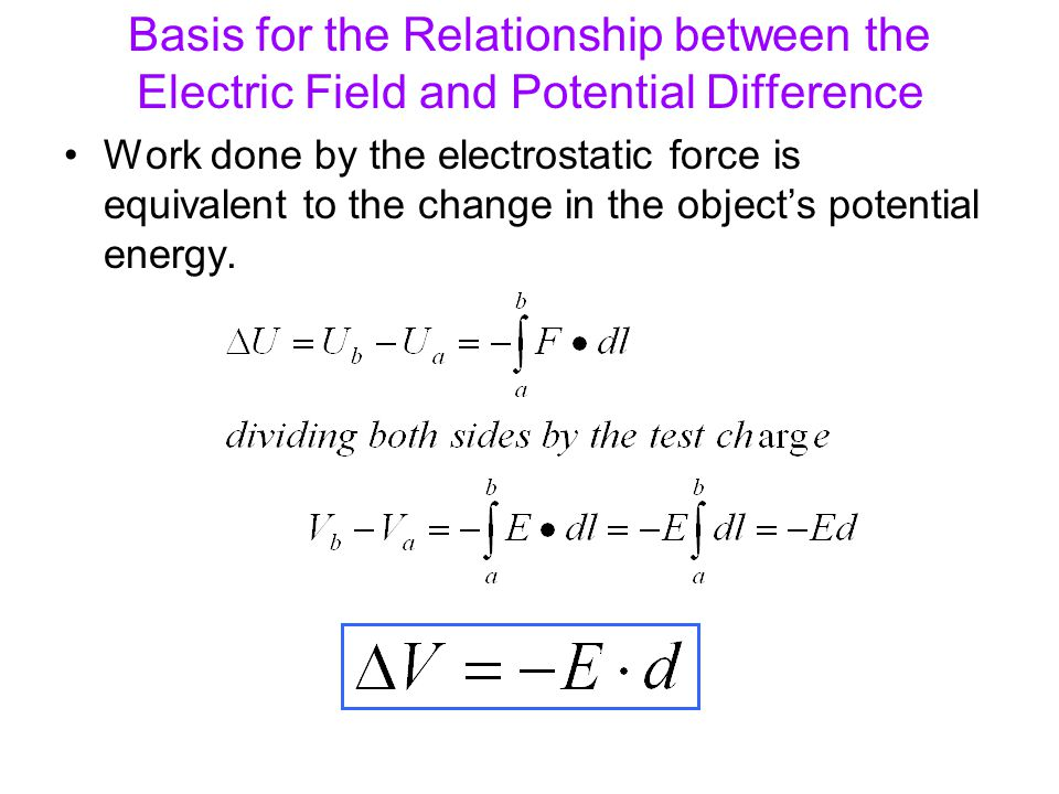 Basis for the Relationship between the Electric Field and Potential Difference