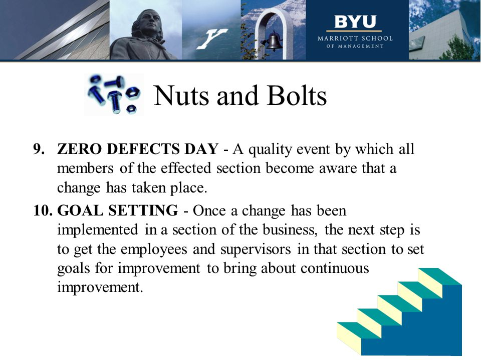 Nuts and Bolts ZERO DEFECTS DAY - A quality event by which all members of the effected section become aware that a change has taken place.