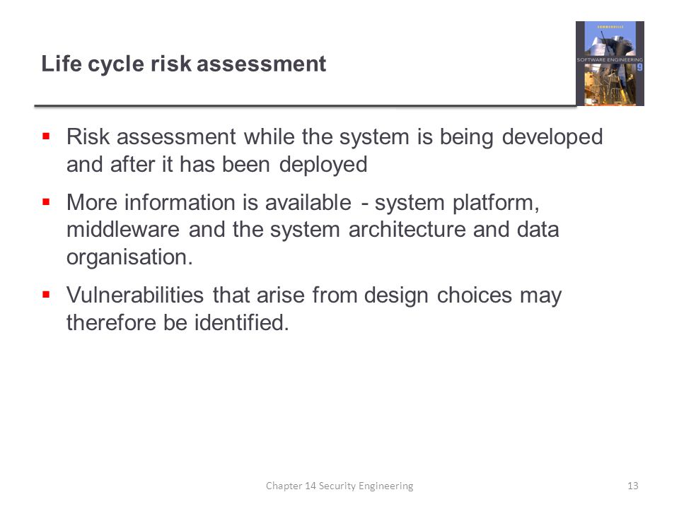 Life cycle risk assessment