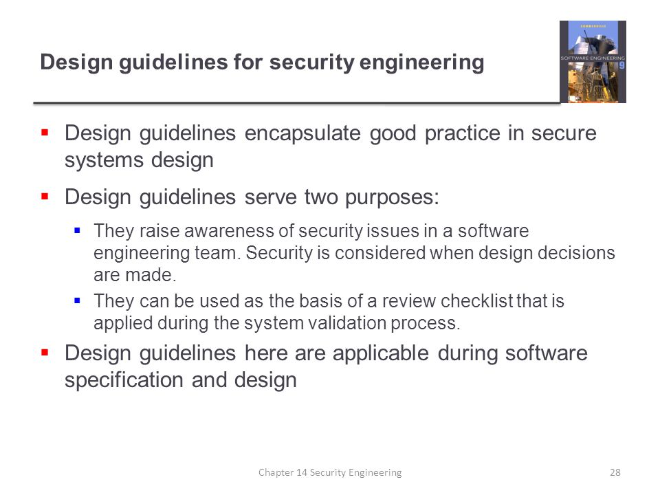 Design guidelines for security engineering