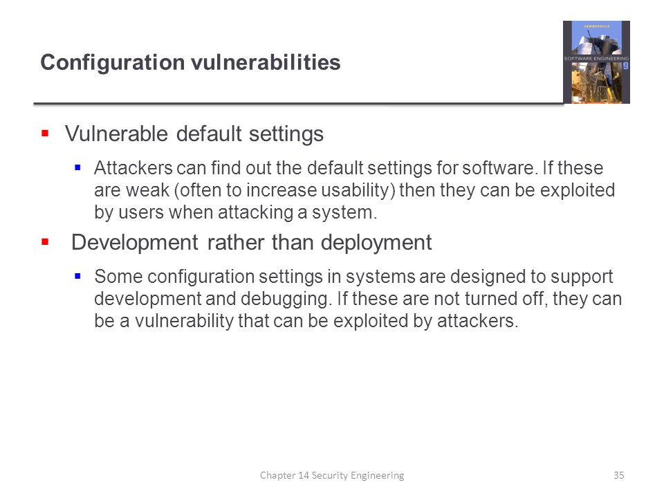 Configuration vulnerabilities