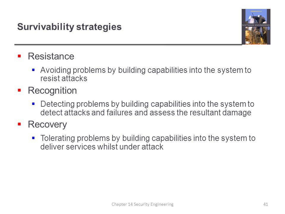 Survivability strategies