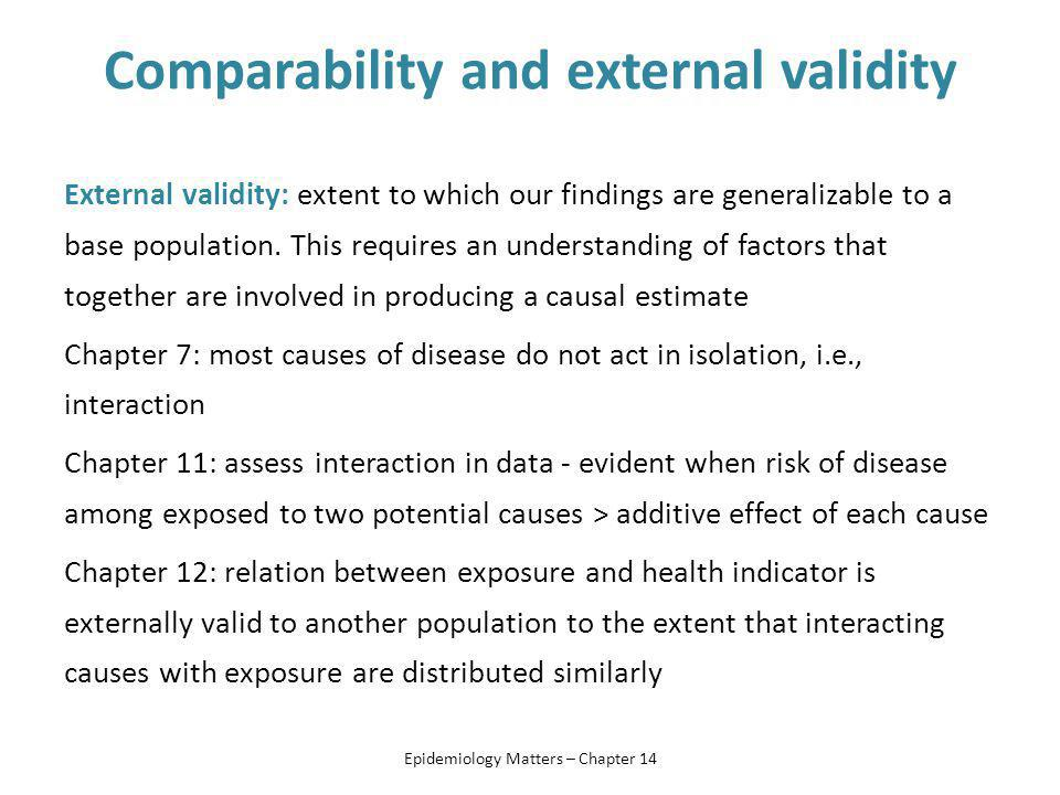 Comparability and external validity