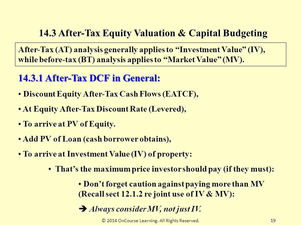 14.3 After-Tax Equity Valuation & Capital Budgeting
