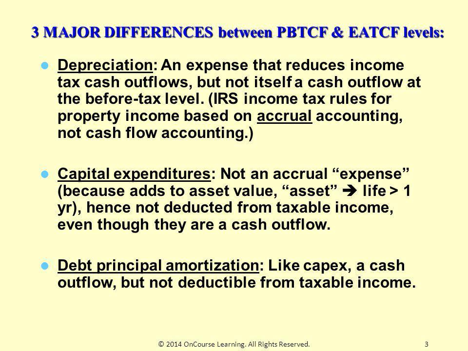 3 MAJOR DIFFERENCES between PBTCF & EATCF levels: