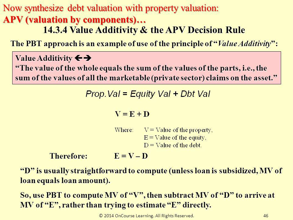 14.3.4 Value Additivity & the APV Decision Rule