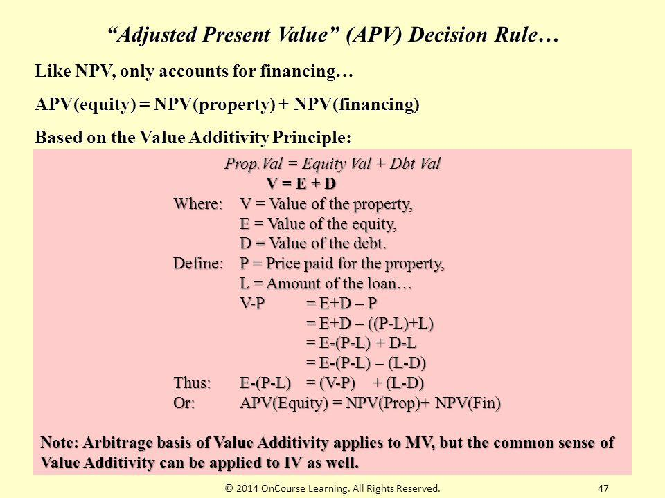 Adjusted Present Value (APV) Decision Rule…