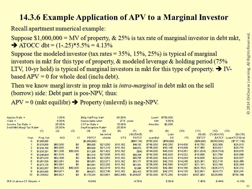 14.3.6 Example Application of APV to a Marginal Investor