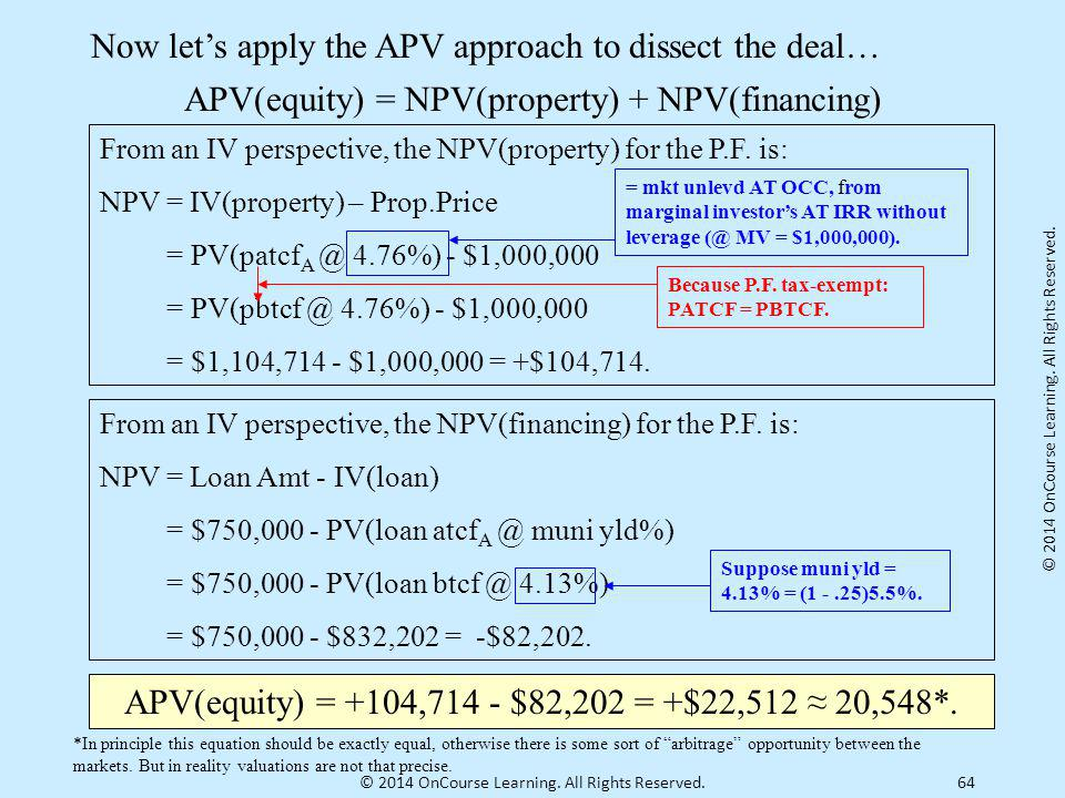 Now let's apply the APV approach to dissect the deal…