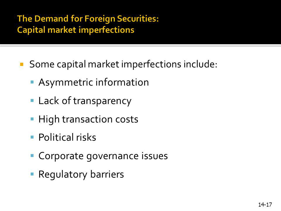 The Demand for Foreign Securities: Capital market imperfections