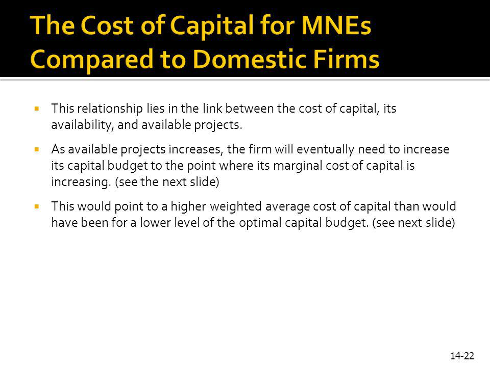 The Cost of Capital for MNEs Compared to Domestic Firms