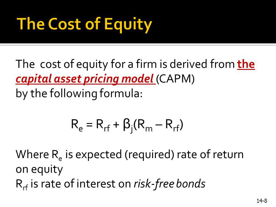The Cost of Equity The cost of equity for a firm is derived from the capital asset pricing model (CAPM)
