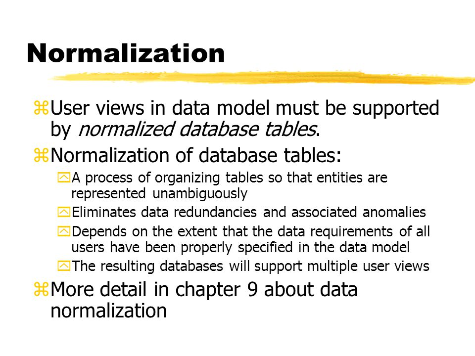 Normalization User views in data model must be supported by normalized database tables. Normalization of database tables: