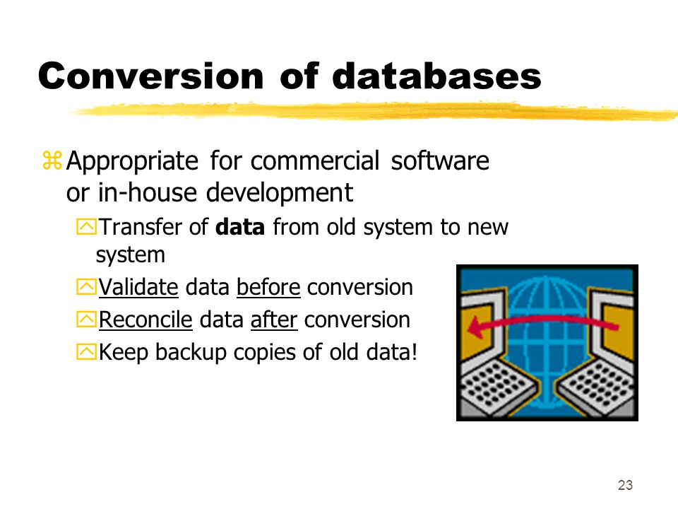 Conversion of databases