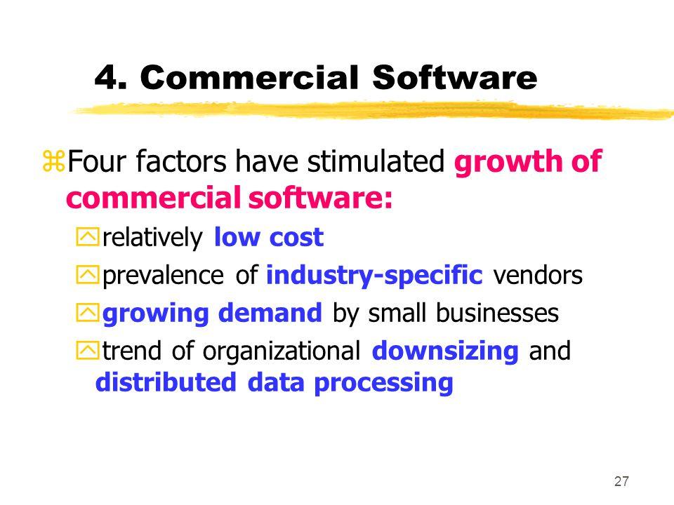 4. Commercial Software Four factors have stimulated growth of commercial software: relatively low cost.
