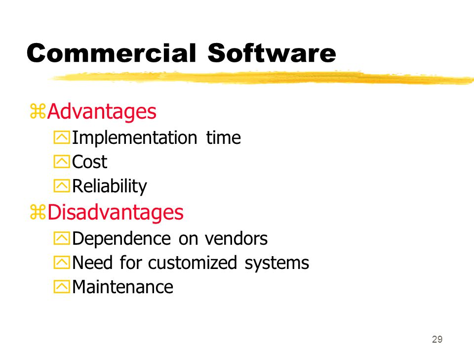 Commercial Software Advantages Disadvantages Implementation time Cost