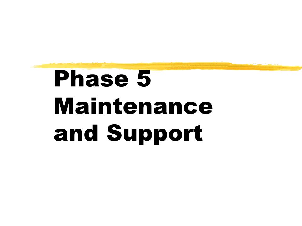Phase 5 Maintenance and Support