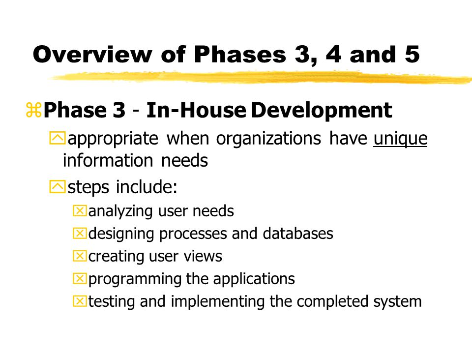 Overview of Phases 3, 4 and 5 Phase 3 - In-House Development